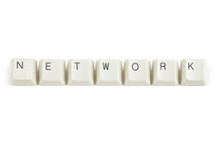 Network from scattered keyboard keys on white Royalty Free Stock Photo