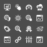 Network and search engine optimization icon set, vector eps10 Stock Images