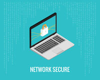 Network secure illustration with laptop and lock icon on the digital blue background. Isometric view Stock Images