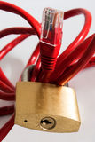 Network Security. Concept image.  Ethernet wiring through a padlock Stock Images