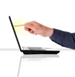 Network Security. Businessman getting network access with a gold key Stock Images