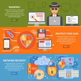 Network Security Banners. Set with elements of data protection secure data exchange antivirus software vector illustration stock illustration