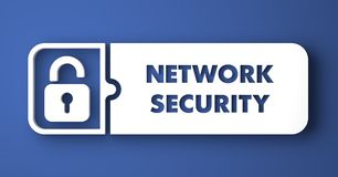 Network Security on Blue in Flat Design Style. Stock Image