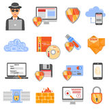 Network Security Color Icons Stock Photo