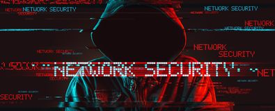 Network security concept with faceless hooded male person stock photo