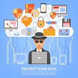 Network Security Concept. With hacker figure at computer and set of decorative icons with floppy disk flash drive firewall and spam symbols flat vector Stock Images