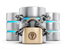 Network security. Concept, a padlock chained to the data storage server vector illustration