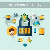 Network Security Concept. With padlock and world map on background vector illustration Royalty Free Stock Images