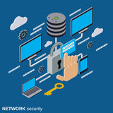 Network security, data protection vector concept. Network security, data protection flat isometric vector concept illustration Royalty Free Stock Image
