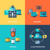 Network security, data protection vector concepts set. Malware and firewall service illustration Royalty Free Stock Photography