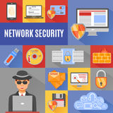 Network Security Decorative Icons Stock Image