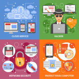 Network Security 2x2 Design Concept. Set of cloud service computer protection and hacker attack flat vector illustration Royalty Free Stock Photos