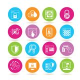 Network security icons. Collection of 16 network security icons in colorful buttons royalty free illustration