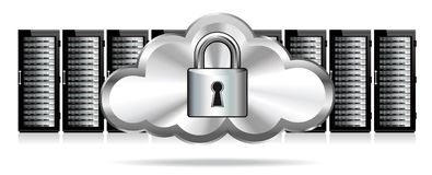 Padlock Cloud Servers Secure Protection. Network Security - Information technology conceptual image, Password Protected, Server Farm Stock Image
