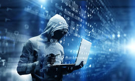 Network security and privacy crime. Mixed media Royalty Free Stock Photography