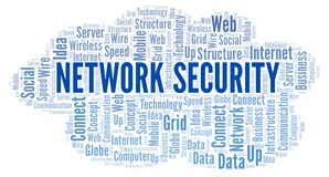 Network Security word cloud. Word cloud made with text only vector illustration