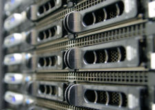 Network server. Close up of powered on server rack Royalty Free Stock Photos