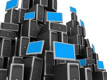 Network Server. Image of PC Workstations. White background Stock Photography