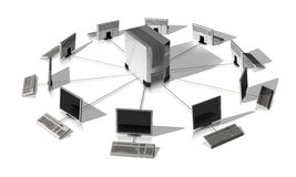 Network server. It network around a server isolated on white Royalty Free Stock Photo