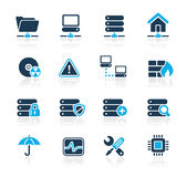Network & Server // Azure Series. Set of decorative blue icons isolated on white background for your web site or presentations Royalty Free Stock Photo