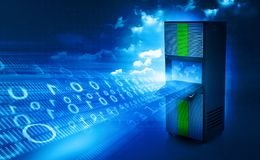 Network server with binary stream. 3d render Stock Photo