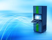 Network server with binary stream. 3d render Royalty Free Stock Images