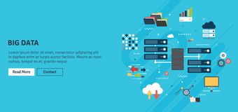 Big Data and cloud computing banner with icons. Network server of computers and business intelligence.Database security system. Backup data traffic analysis Stock Image