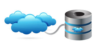 Network server connecting with clouds. Illustration design over white Stock Photography