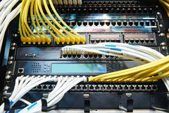 Network server equipment with optical fibre cables Royalty Free Stock Image