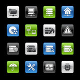 Network & Server // Gelbox Series. Set of glossy icons for your website or presentation Stock Photos