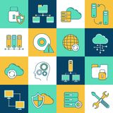 Network and server icon set. Database information network and server digital analytics icons set isolated vector illustration Stock Images