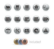 Network & Server // Metal Button Series Royalty Free Stock Photography