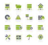 Network & Server // Natura Series. Green icons for your website or presentations Stock Photography