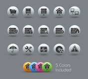 Network & Server // Pearly Series. The .eps file includes 4 color versions for each icon in a different layer Royalty Free Stock Photo