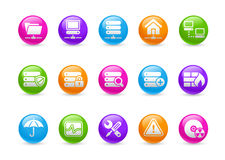 Network & Server // Raimbow Series. Glossy round icons for your website or presentations Stock Image