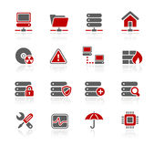 Network & Server // Redico Series. Set of decorative red and gray icons isolated on white background for your web site or presentations Royalty Free Stock Images