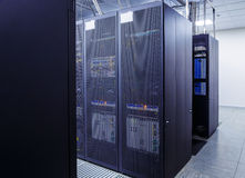 Network server room with computers for digital tv ip communications and internet Royalty Free Stock Images