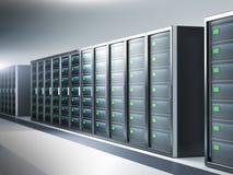 Network server room, row of servers Stock Photos