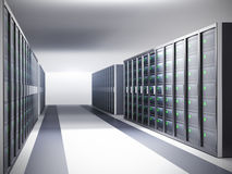 Network server room, row of servers Stock Photography