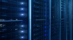 Free Network Server Room With Racks In Data Center. Blink Led Lamp. Royalty Free Stock Photos - 149092828