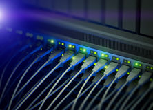 Network server switch with LED flashing Royalty Free Stock Photo