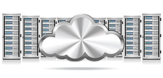 Network Servers with Cloud Icon Stock Image