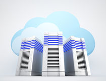 Network servers with clouds Royalty Free Stock Images