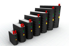 Network servers in data centre i Stock Photo