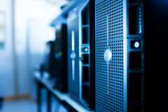 Network servers in data room Stock Photo