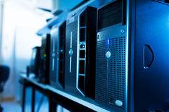 Network servers in data room Royalty Free Stock Image