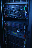 Network servers in data room Domestic Room . Server rack cluster in a data center Royalty Free Stock Image