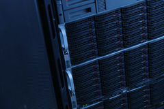 Network servers in data room Domestic Room . Server rack cluster in a data center Royalty Free Stock Photos