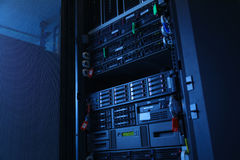 Network servers in data room Domestic Room . Server rack cluster in a data center Stock Photography