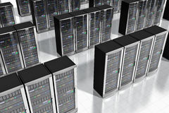 Network servers in datacenter. Cloud computing and computer telecommunication technology concept: rows of network server racks in datacenter Stock Photo